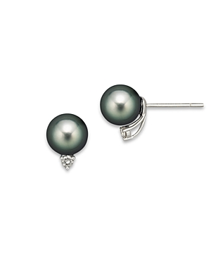 Cultured Tahitian Pearl Stud Earrings with Diamonds, 9mm