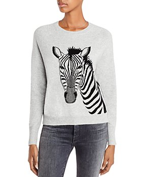 AQUA - Zebra Graphic Cashmere Sweater - 100% Exclusive