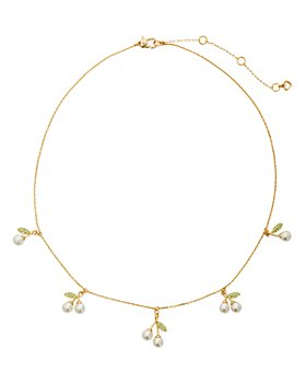 "kate spade new york - Cherie Gold-Tone Pavé & Imitation Pearl Cherry Charm Necklace, 17""-20"""