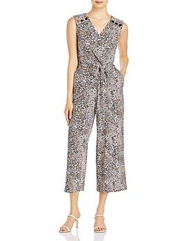 T Tahari - Leopard Printed Wrap Jumpsuit