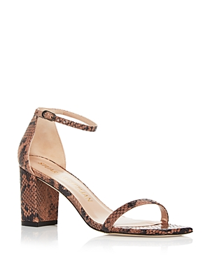 Stuart Weitzman Women's Amelina Snake Embossed Square Toe Block Heel Sandals