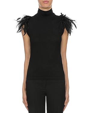 Alberta Ferretti Wool Feather Trim Top-Women