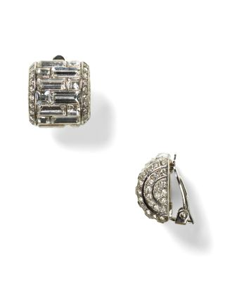 CAROLEE LUX Crystal Button Clip-On Earrings in Silver