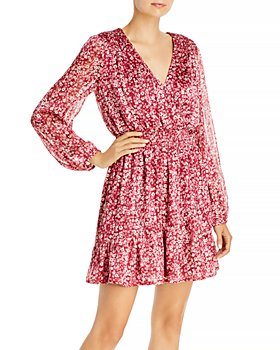 AQUA - Ditsy Floral Faux Wrap Dress - 100% Exclusive