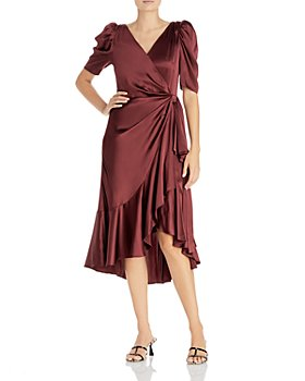 Cinq à Sept - Lisa Ruffled Silk Faux Wrap Dress