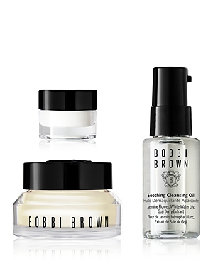 What It Is: An ultra-nourishing, 3-step skincare routine in go-anywhere sizes so you can get fresh, dewy skin at home or away. Wash away makeup, not moisture with nourishing cleansing oil, brighten eyes with lightweight eye cream, and hydrate and prep for makeup with Bobbi Brown\\\'s 2-in-1 primer plus moisturizer. Set Includes: - Mini Soothing Cleansing Oil - Mini Vitamin Enriched Face Base - Mini Hydrating Eye Cream Free Of. - Parabens, phthalates, sulfates, sulfites, mineral oil, gluten - Animal