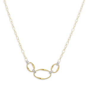 Marco Bicego 18K Yellow Gold Onde Diamond Three Station Necklace, 16.5-Jewelry & Accessories