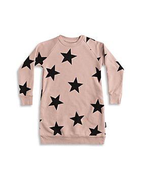 NUNUNU - Girls' Cotton Star Print Sweatshirt Dress - Little Kid