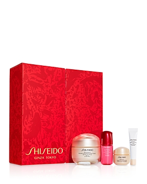 What It Is: A luxurious, four-piece skincare routine featuring Shiseido\\\'s best-selling Benefiance Wrinkle Smoothing collection of treatments for fast, visible results. The gift of smooth, ageless skin. From Japan, with love. Set Includes: - Benefiance Wrinkle Smoothing Day Cream Spf 23 1.7 oz. (Full Size) - Ultimune Power Infusing Concentrate 0.34 oz. - Benefiance Wrinkle Smoothing Cream 0.5 oz. - Benefiance Wrinkle Smoothing Eye Cream 0.17 oz. What It Does: Benefiance is a fine-line and wrinkle
