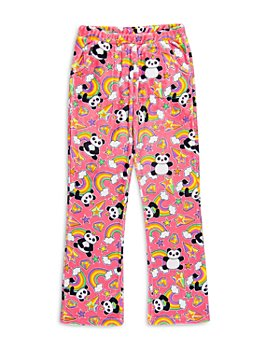 Candy Pink - Girls' Rainbow Panda Fleece Pajama Pants - Big Kid