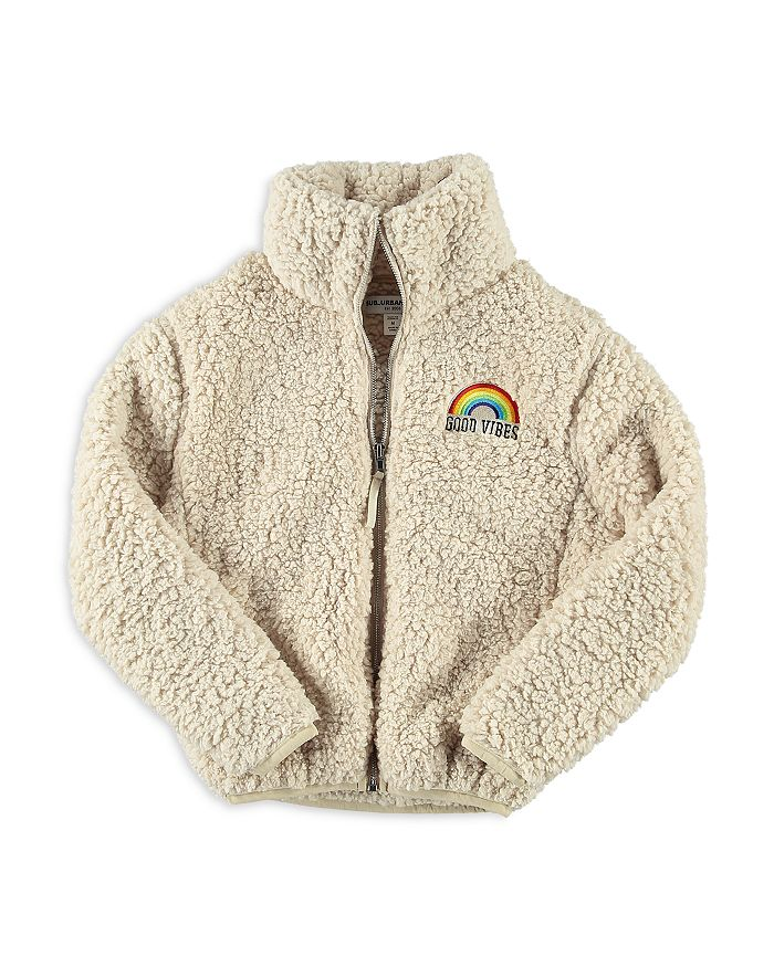 Sub_Urban Riot - Girls' Good Vibes Rainbow Fleece Teddy Jacket - Big Kid
