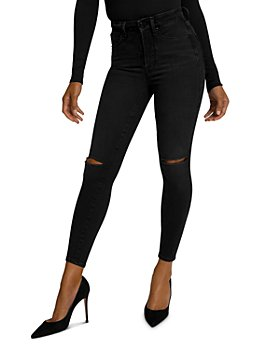 Good American - Good Waist Cropped Ripped Skinny Jeans in Black111