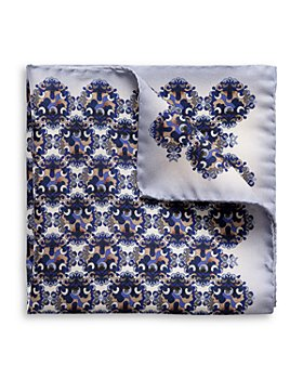Eton - Silk Blue Medallion Print Pocket Square