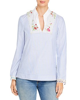 Tory Burch - Striped Embellished Blouse