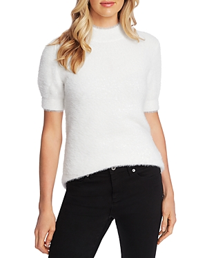CeCe Short Sleeve Mock Neck Eyelash Sweater-Women