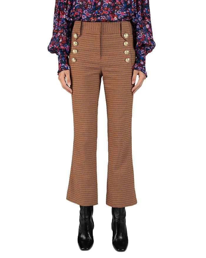 Derek Lam 10 Crosby Cottons DERECK LAM 10 CROSBY CORINNA HOUNDSTOOTH CROPPED FLARED PANTS