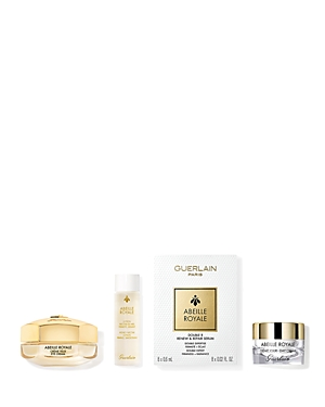 What It Is: An anti-aging skincare routine to help skin appear firmer, smoother and more radiant. Set Includes: - Full Size Abeille Royale Eye Cream 0.5 oz. - Abeille Royale Day Cream 0.24 oz. - Abeille Royale Double R Serum 0.16 oz. (0.2 oz. per packet) - Abeille Royale Honey Nectar Lotion 1.7 oz. What It Does: - Abeille Royale Eye Cream smooths, evens out and restores density to the eye contour area. - Abeille Royale Day Cream visibly enhances firmness and improves the look of wrinkles. - Abei