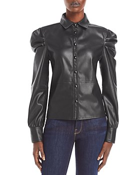 BLANKNYC - Puff Sleeve Faux Leather Shirt