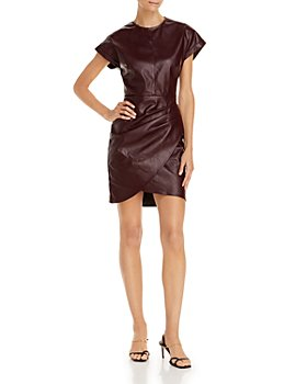 Lucy Paris - Ruched Faux Leather Dress - 100% Exclusive