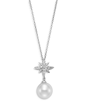 Bloomingdale's Cultured Freshwater Pearl & Diamond Stella Pendant Necklace in 18K White Gold, 16-18