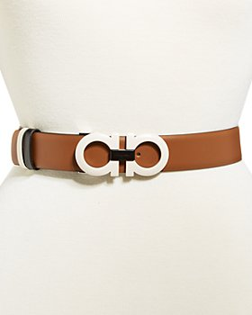 Salvatore Ferragamo - Women's Double Gancini Buckle Reversible Leather Belt