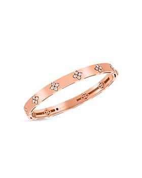 Roberto Coin - 18K Rose Gold Love in Verona Diamond Flower Bangle Bracelet