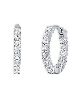 Roberto Coin - 18K White Gold Perfect Diamond Inside Out Extra Small Hoop Earrings