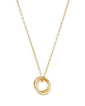 """AQUA - Cubic Zirconia Circle Link Pendant Necklace, 15.5"""""""