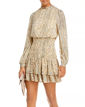 Aqua Dot Long Sleeve Smocked Mini Dress - 100% Exclusive-Women