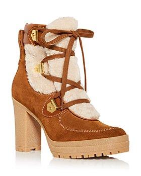 See by Chloé - Women's Karla Shearling High Block Heel Booties