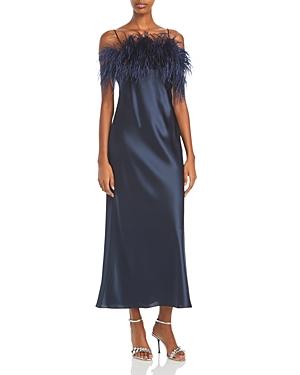 Cinq a Sept Cerise Satin Feather Trim Midi Dress-Women