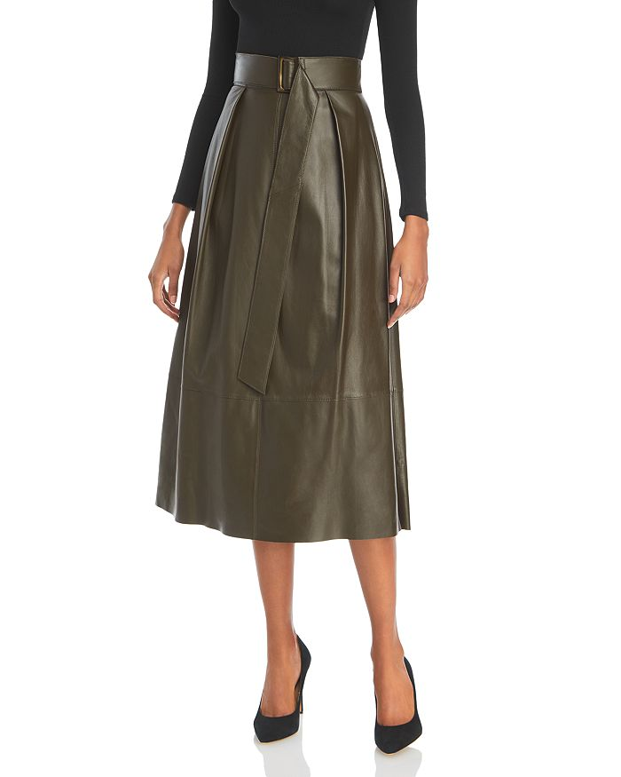 Vince - Belted Leather Skirt