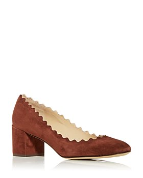 Chloé - Women's Lauren Scalloped Block Heel Pumps