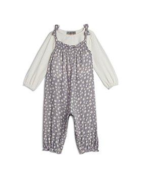Pippa & Julie - Girls' Long Sleeved Top & Dot Print Overalls Set - Little Kid