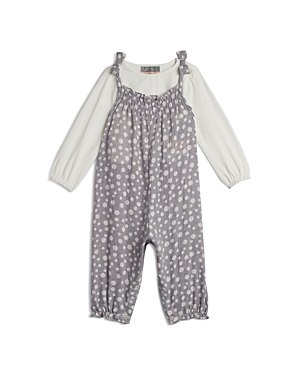 Pippa & Julie Girls\\\' Long Sleeved Top & Dot Print Overalls Set - Little Kid-Kids