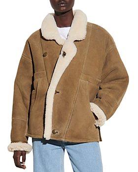 Sandro - Sherly Leather & Shearling Coat