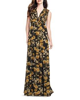 Aidan by Aidan Mattox - Floral Print Pleated Gown