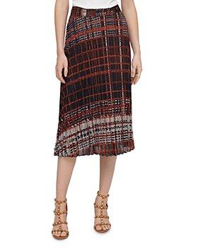 DKNY - Plaid Pleated Midi Skirt