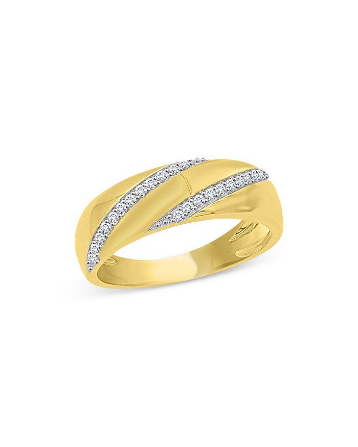 Bloomingdale's Men's Diamond Diagonal Band In 14k Yellow Gold, 0.25 Ct. T.w. - 100% Exclusive