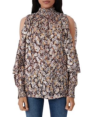 Maje Blouses LETREA PRINTED COLD SHOULDER TOP