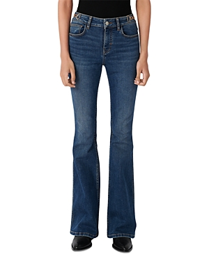 Maje Prame Flared Jeans with Horsebit Detail-Women