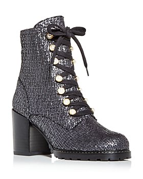 Stuart Weitzman - Women's Ivey Tweed High Block Heel Combat Boots
