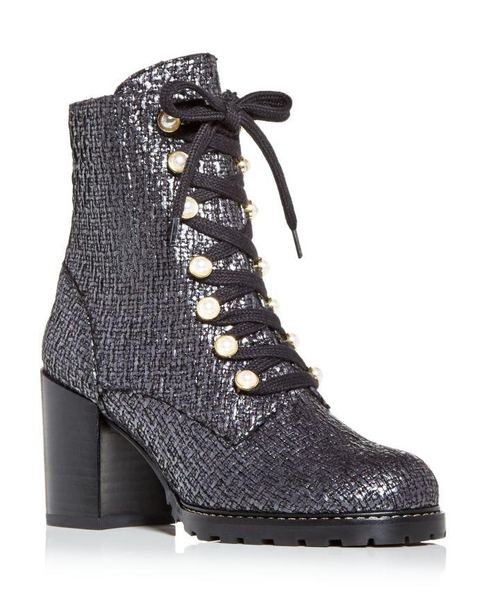 Stuart Weitzman Women's Ivey Tweed High Block Heel Combat Boots  | Bloomingdale's