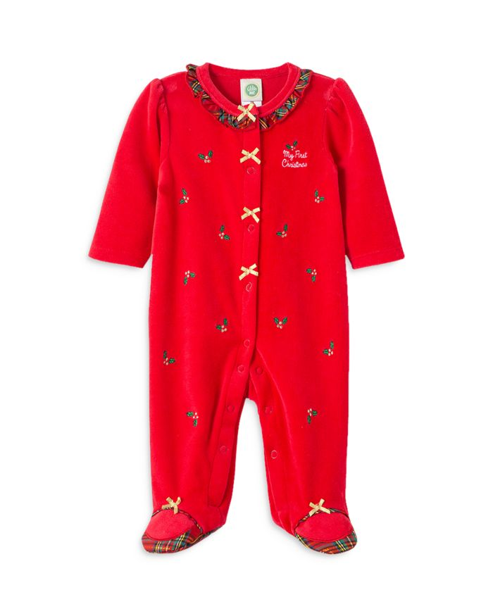 Little Me Girls' Holly Plaid Velour Footie - Baby  | Bloomingdale's