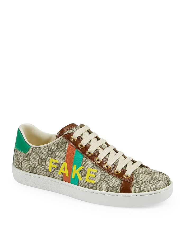 Gucci - Women's 'Fake/Not' Print Ace Sneakers