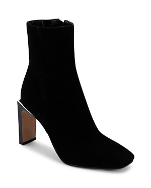 Women's Kelsie Square Toe Angular High Heel Embossed Leather Booties