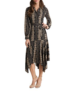 VINCE CAMUTO - Asymmetric Snake Print Shirt Dress