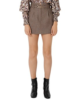 Maje - Jeling Checked Mini Skirt with Horsebit Belt