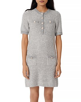 Maje - Raveno Knit Sequined Shirt Dress