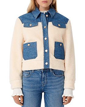 Maje - Bamia Denim Trim Faux Fur Jacket
